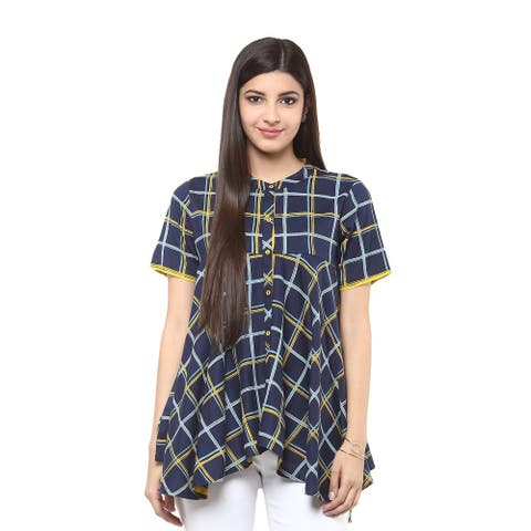 Handmade In-Sattva Women's Checkered Print Indian Short Tunic Top