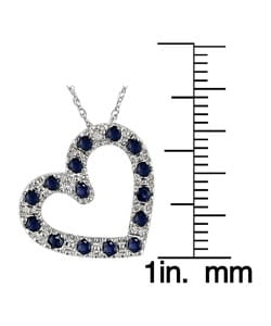 Miadora 10k White Gold Sapphire Heart Pendant with Diamond Accent - Thumbnail 2