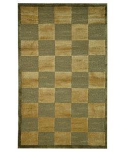 Safavieh Hand-knotted Tibetan Checkers Green/ Beige Tibetan Wool Rug (3' x 5')