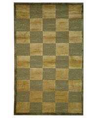 Safavieh Hand-knotted Tibetan Checkers Green/ Beige Tibetan Wool Rug - 3' x 5'