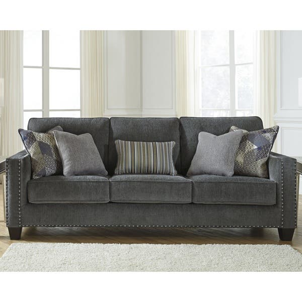 Shop Benchcraft Gavril Contemporary Smoke Grey Sofa - Free ...