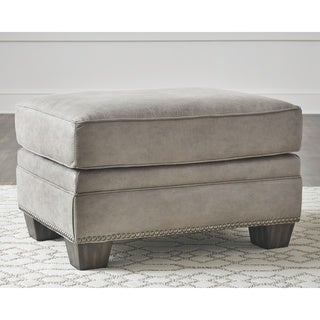 Olsberg Traditional Steel Gray Ottoman with Nailhead Trim