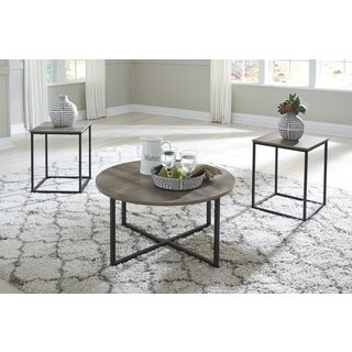 Signature Design by Ashley Wadeworth Black/Woodgrain Brown Contemporary 2-tone 3-piece Occasional Table Set