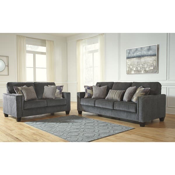 Prime Shop Benchcraft Gavril Smoke Grey Contemporary Queen Sofa Pabps2019 Chair Design Images Pabps2019Com
