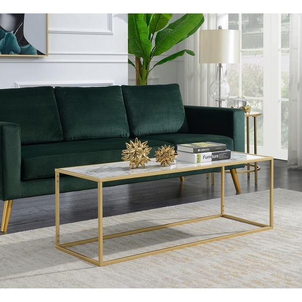 Faux White Marble Coffee Table Set: Shop Convenience Concepts Gold Coast White Faux Marble Top