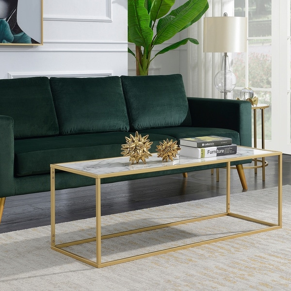 Convenience Concepts Gold Coast White Faux Marble Top Rectangle Coffee Table