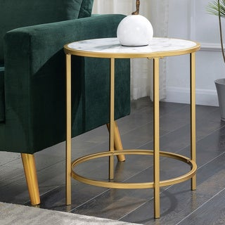 Silver Orchid Alvarado Gold Coast Deluxe Faux Marble Round End Table