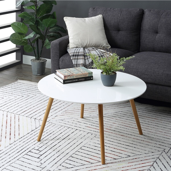 Round Coffee Table Natural Wood: Shop Convenience Concepts Oslo White Top Natural Wood Legs