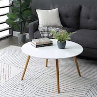 Convenience Concepts Oslo White Top Natural Wood Legs Round Coffee Table