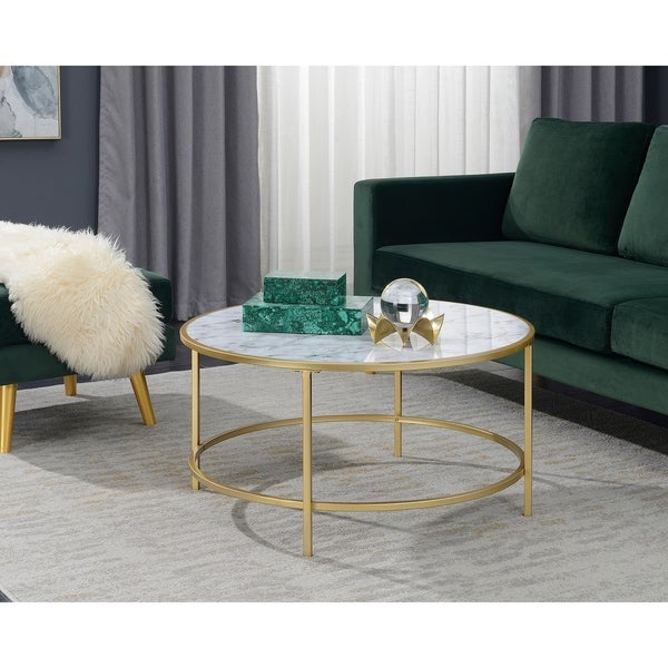 Marble Coffee Table Walmart: Shop Convenience Concepts Gold Coast Goldtone/ White Faux