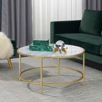 Convenience Concepts Gold Coast Goldtone/ White Faux Marble Round Coffee Table