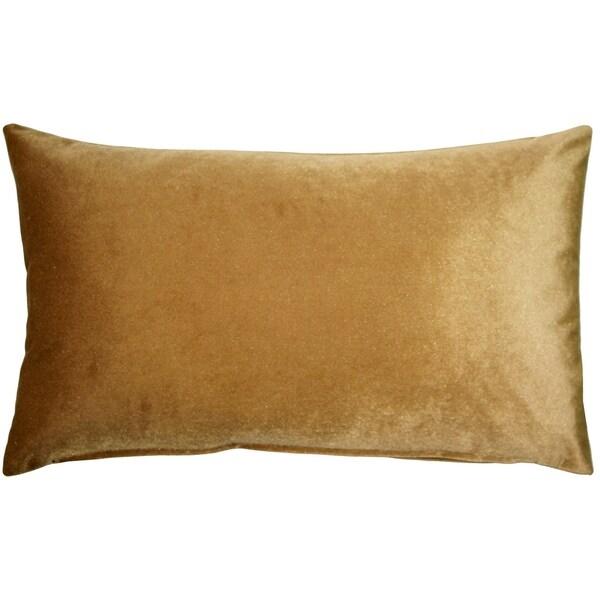 Pillow Decor - Corona Golden Brown Velvet Pillow 12x20