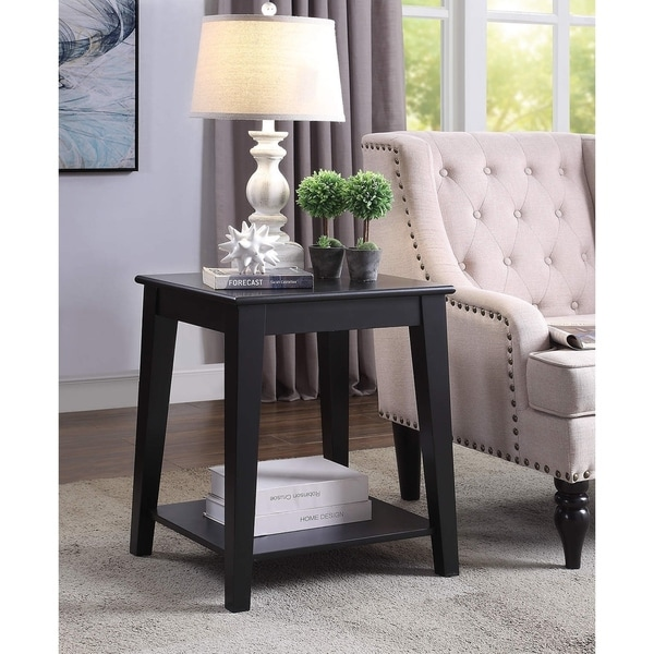 Carter Black Wood Side Table with Charging Station