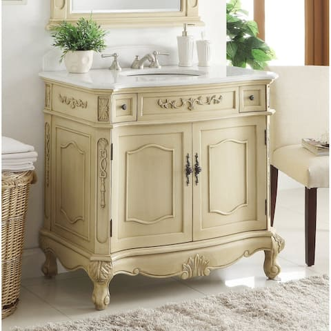 "36"" Benton Collection Fairmont Beige Antique Style Bathroom Vanity"