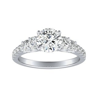 Auriya 14k Gold 3/4cttw Diamond and 1 1/2ct Five Stone Moissanite Engagement Ring