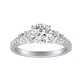 Auriya 14k Gold 3/4cttw Diamond and 1/2ct Five Stone Moissanite Engagement Ring