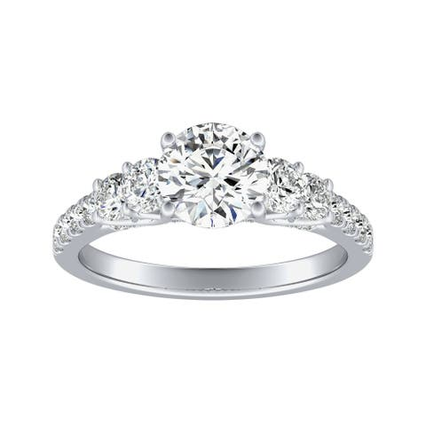 Auriya 14k Gold 1ct Moissanite and 5-Stone Diamond Engagement Ring 3/4ctw
