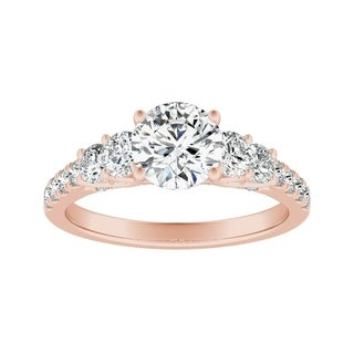 Auriya 14k Gold 3/4cttw Diamond and 2ct Five Stone Moissanite Engagement Ring