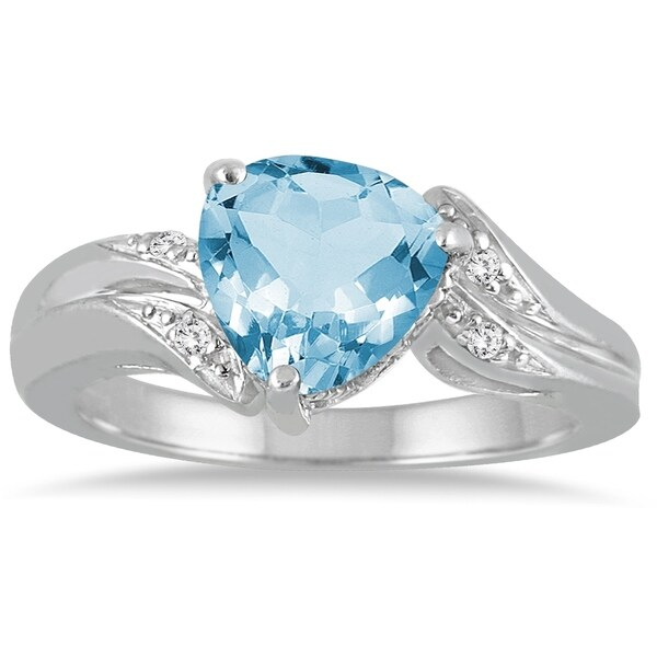 53c1d738a7408 2 1/4 Carat Trillion Cut Blue Topaz and Diamond Ring in 10K White Gold