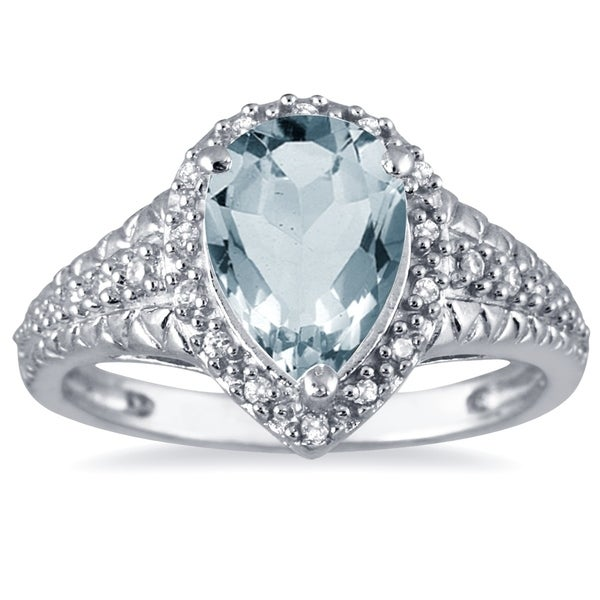 5e5f9d73a104d 2 Carat Pear Shaped Aquamarine and Diamond Ring in 10K White Gold