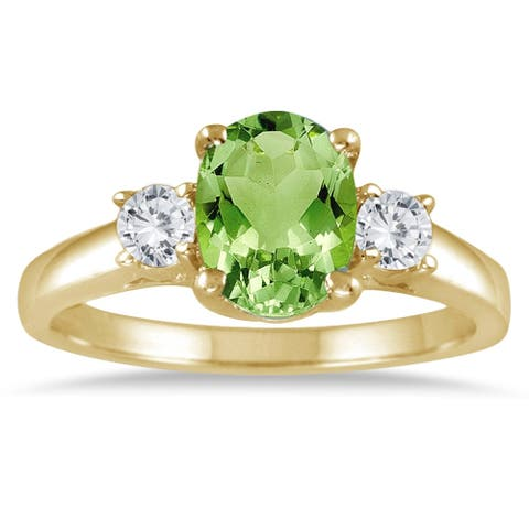 1 3/4 Carat Peridot and Diamond Three Stone Ring 14K Yellow Gold