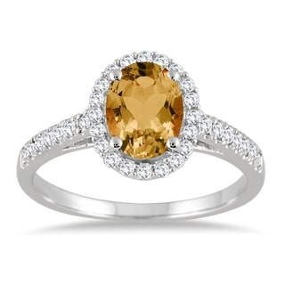 Citrine And Diamond Halo Ring In 10K White Gold