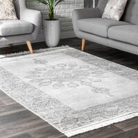nuLOOM Gray Traditional Vintage Faded Fron Fron Chandelier Medallion Tassel Area Rug - 6' x 9'