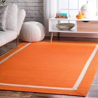 "nuLOOM Orange Indoor Outdoor Braided Casual Solid Border Lining Area Rug - 7'6"" x 9'6"""