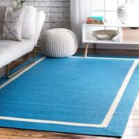 """nuLOOM Blue Indoor Outdoor Braided Casual Solid Border Lining Area Rug - 7'6"""" x 9'6"""""""