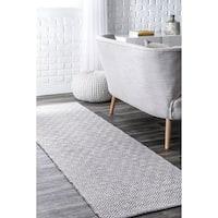 "nuLOOM Grey Handmade Flatweave Diamond Cotton Runner Area Rug - 2'6"" x 8' Runner"