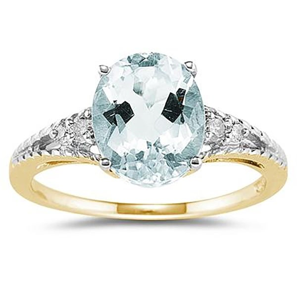 Shop Oval Cut Aquamarine & Diamond Ring In 14k Yellow Gold