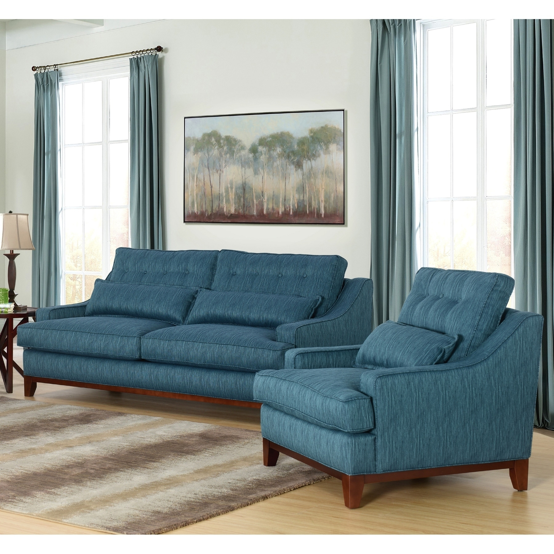 Swell Abbyson Winslow Blue Fabric 2 Piece Living Room Set Gmtry Best Dining Table And Chair Ideas Images Gmtryco
