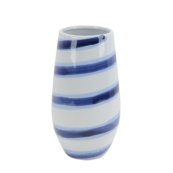 Shop Sagebrook Home Ceramic Striped Vase 12 Whiteblue Free