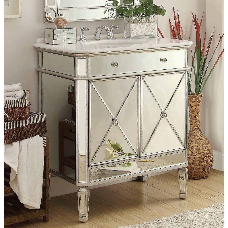Shop 32 Benton Collection Austell Silver Mirrored Modern Bathroom Vanity Overstock 22612193
