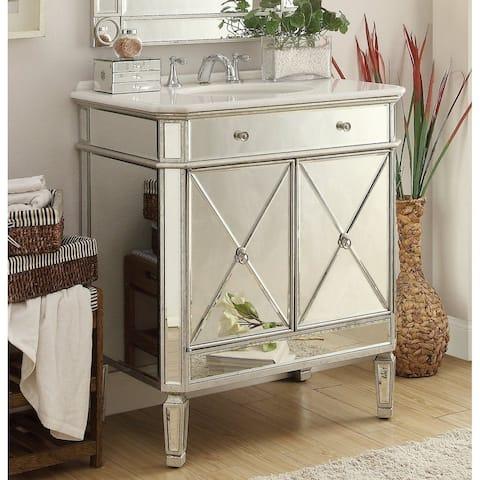 "32"" Benton Collection Austell Silver Mirrored Modern Bathroom Vanity"
