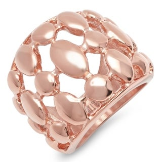 Piatella Ladies 18k Rose Gold Plated Stainless Steel Bubble Link Cocktail Ring