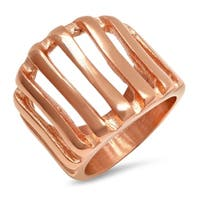 Piatella  Ladies 18k Rose Gold Plated Stainless Steel Line Cut Cocktail Ring