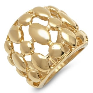 Piatella Ladies 18k Gold Plated Stainless Steel Bubble Link Cocktail Ring
