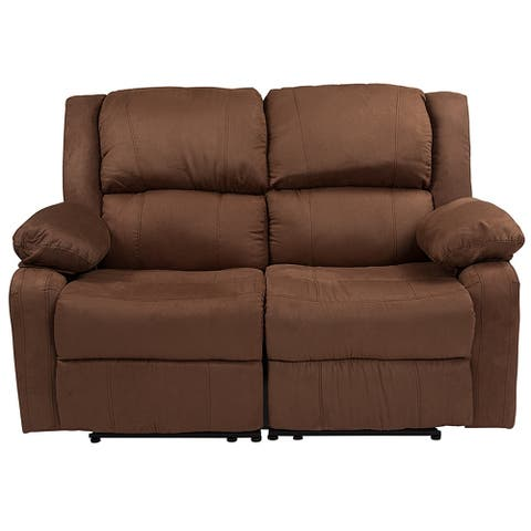 Serenity Classic Chocolate Brown Microfiber Reclining Loveseat