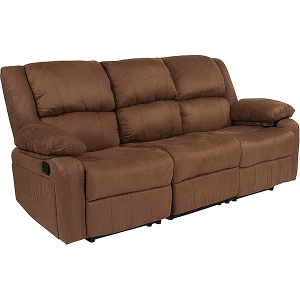 Serenity Clic Chocolate Brown Microfiber Reclining Sofa On Free Shipping Today 22612234