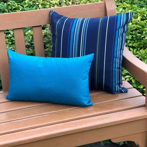 Pillow Decor - Sunbrella Peacock Outdoor Pillow 12x20