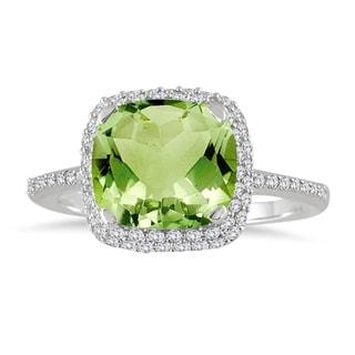 Cushion Cut Peridot and Diamond Halo Ring in 10K White Gold