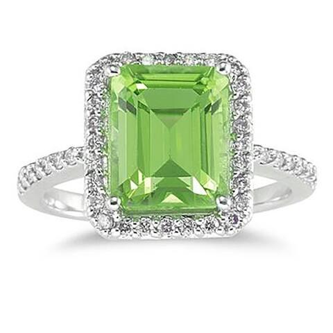 4 1/2 Carat Emerald Cut Peridot and Diamond Ring 14K White Gold