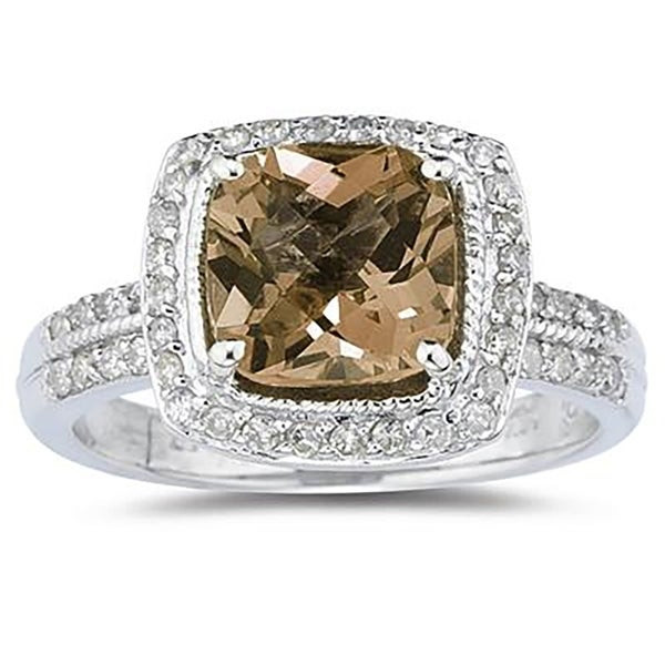 Shop 2 1/2 Carat Cushion Cut Smokey Quartz & Diamond Ring