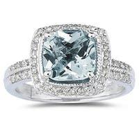 2 1/2 Carat Cushion Cut Aquamarine & Diamond Ring in 14K White Gold