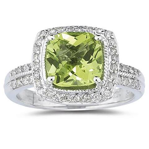 2 1/2 Carat Cushion Cut Peridot & Diamond Ring in 14K White Gold