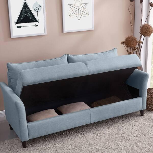 Superb Shop Handy Living Denver Light Blue Linen Storage Sofa On Andrewgaddart Wooden Chair Designs For Living Room Andrewgaddartcom