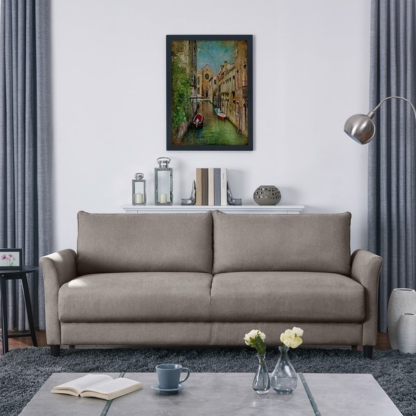 Handy Living Denver Smoke Grey Velvet Sofa