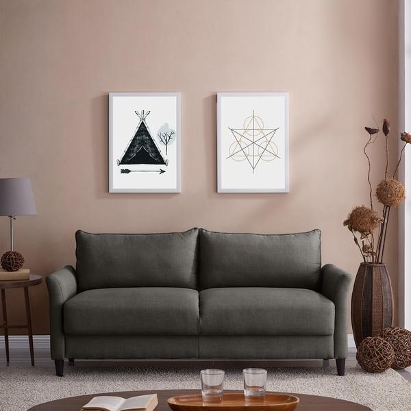 Shop Handy Living Denver Charcoal Grey Linen Storage Sofa ...