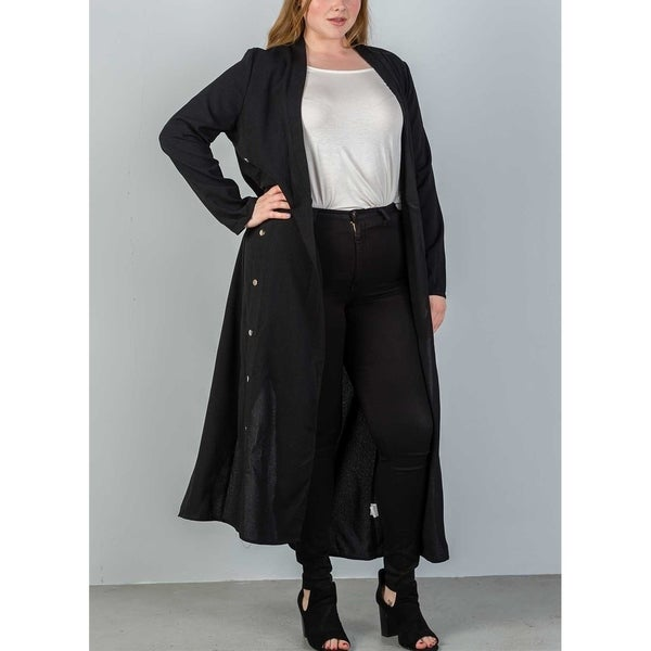 78809e0af7483 Shop JED Women s Plus Size Long Sleeve Black Maxi Blazer Cardigan ...